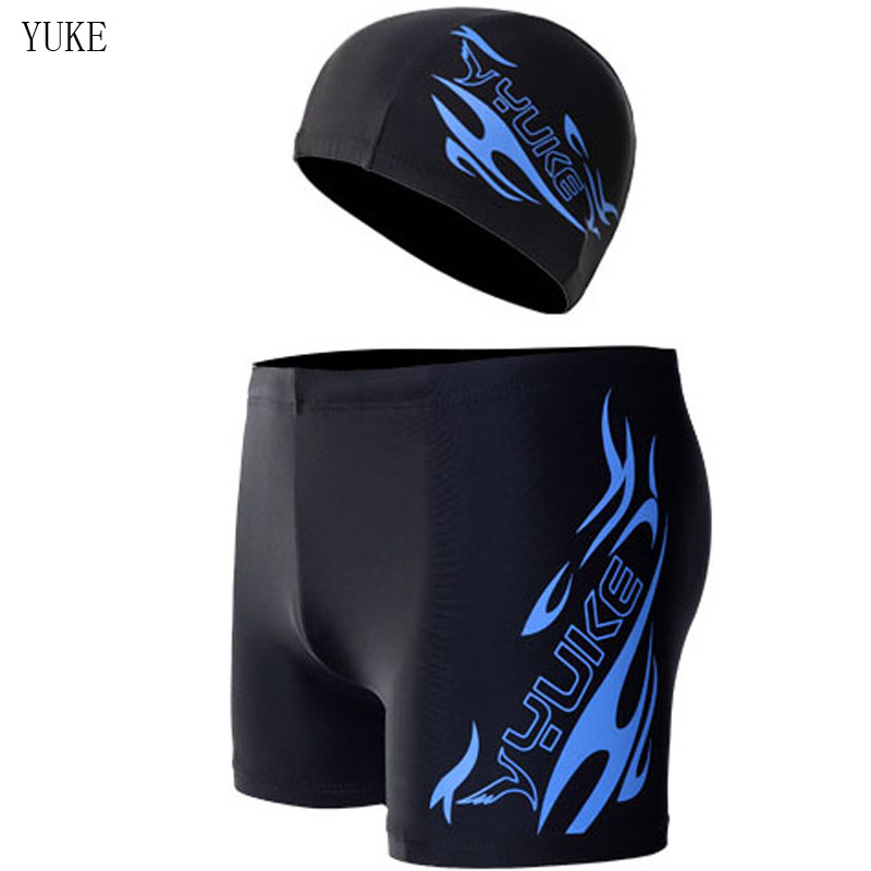 YUKE Shorts Diving Swimsuit Trunks Surfing Brief Sexy Plus-Size Man Men with Cap K50