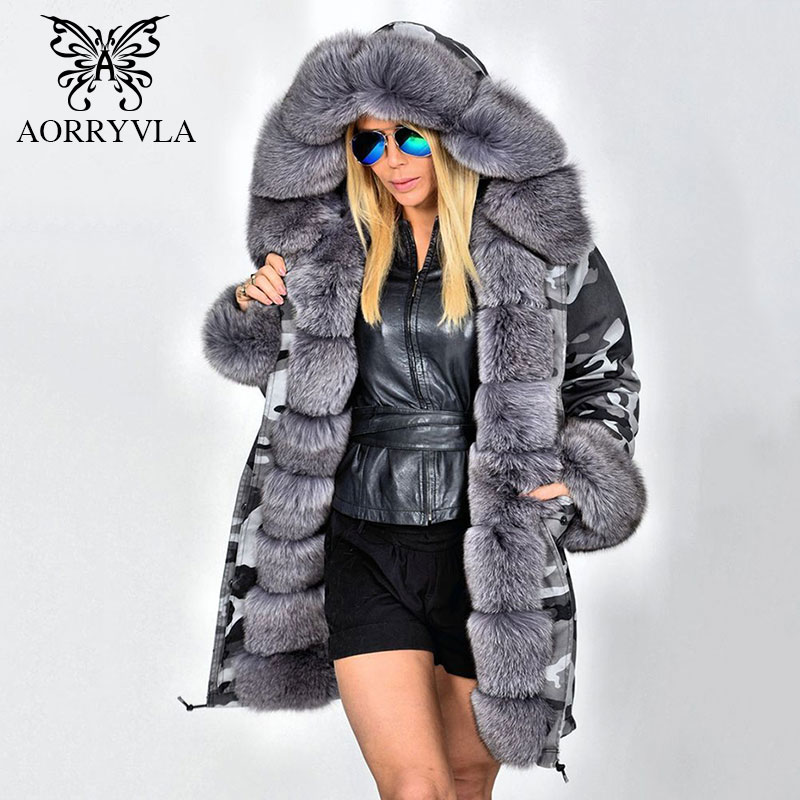 AORRYVLA New Women's Fur Parkas Winter 2017 Fox Fur Collar Hooded Long Coat Natural Rabbit Fur Liner Casual Warm Winter Jacket 2017 winter new clothes to overcome the coat of women in the long reed rabbit hair fur fur coat fox raccoon fur collar