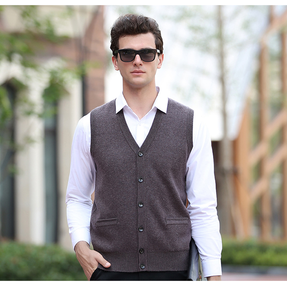 90% Wool Men's Brand Knit Vest Buttons Down V Neck Fashion Casual Basic Sweater Cardigan Sleeveless for Autumn Winter Tops 67909
