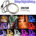 2M/5M 20/50 LED Fairy Light Christmas USB Powered Silver Metal Wire LED String Lights Multicolor Wedding Party Decor DC5V