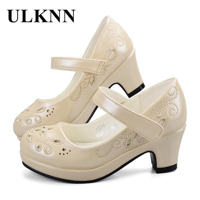ULKNN Spring Autumn Girls Princess Shoes Leather Flowers Children High Heel Shoes For Girls Shoe Party Wedding Dress Kids Shoes