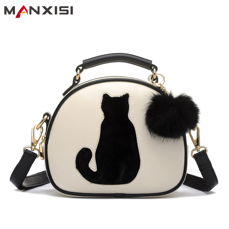 MANXISI Brand Small Crossbody Bags for Girls PU Leather Messenger Bag For Women Kitten Bag With Hair Ball Ladies Shoulder Bags clelo brand women messenger bag 2017 high quality pu shoulder bags soft flap with hair ball crossbody bags for female girl lady