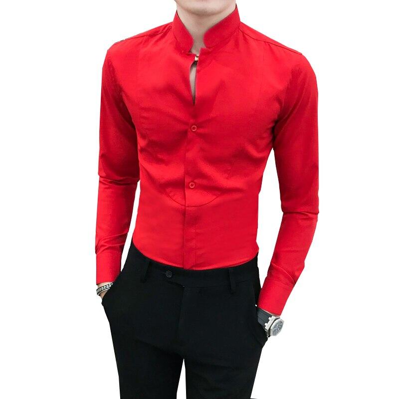 Mode Marke Männer Lange-ärmeln Kleid Shirts Slim Fit Jugend Herren Business Bankett Hochzeit Hemd Größe 3xl
