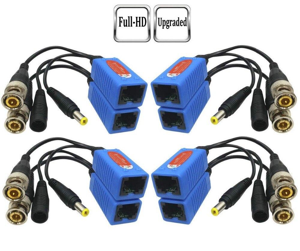 Pripaso 4 par de vídeo passivo balun bnc para rj45 adaptador com potência completa hd 1080p-5mp câmera de segurança de vigilância cabo ethernet