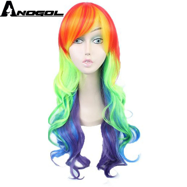 Ponytailed  Rainbow Cosplay Wig
