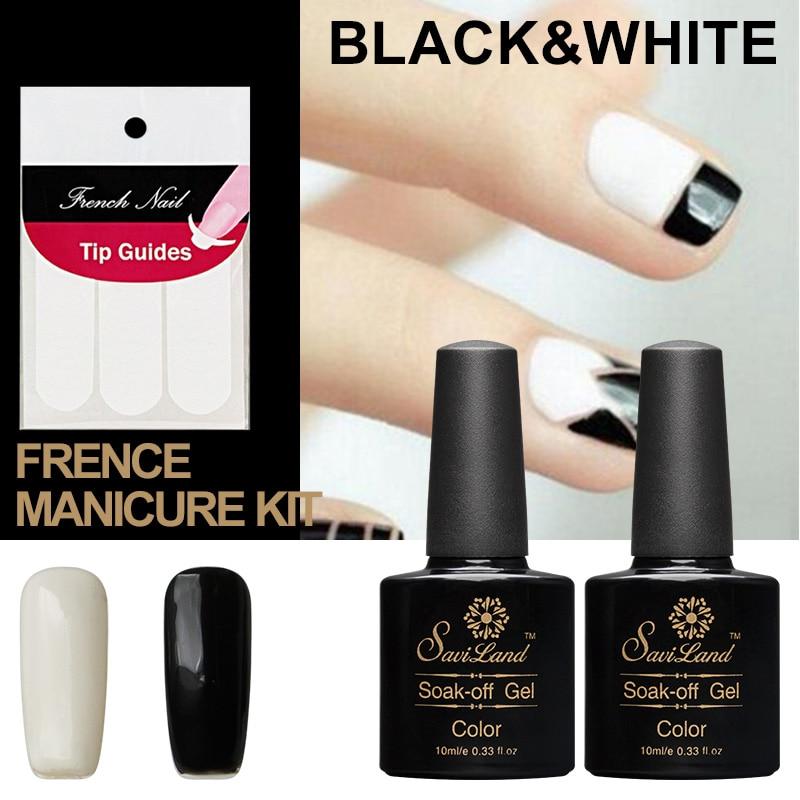 Black Gel Nail Polish: Saviland 2pcs 10ml Nail Art Black White UV Gel Nail Polish
