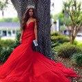 2017 La Venta Caliente Rebordea Rojo Satén de La Sirena del Tren Largo Vestidos de Baile Robe De Soirée