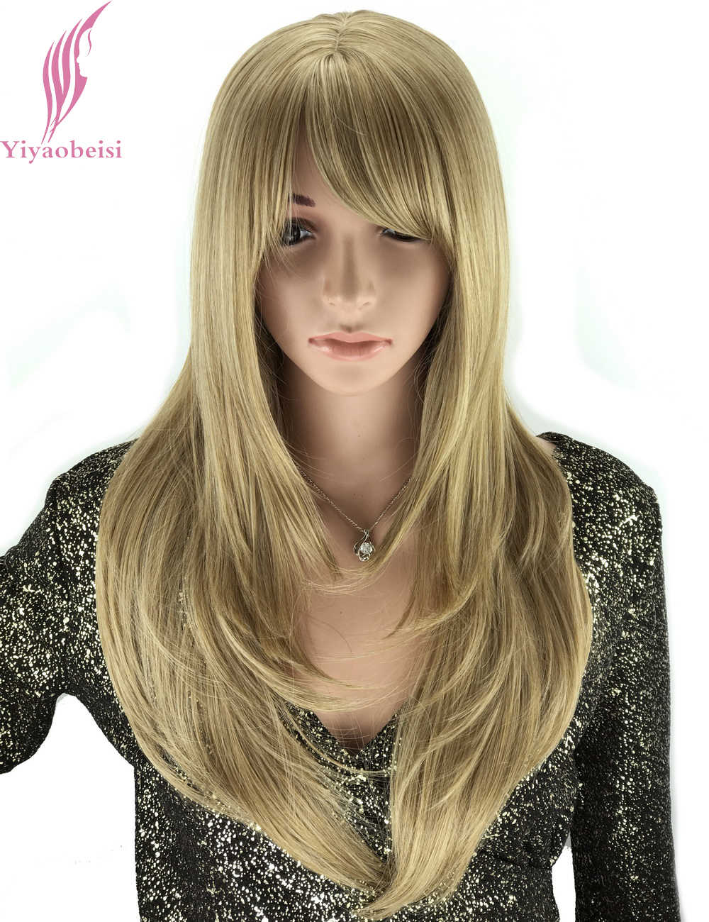 Yiyaobess 50cm European Natural Long Straight Wig Bangs Heat Resistant Synthetic Hair Mix Light Golden Wigs For Women