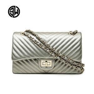 Image 1 - Brand  Female 2020 New Handbags Chevrons Fashion Chain Shoulder Bag Messenger Bag Cover Small Square Package luis vuiton gg bag