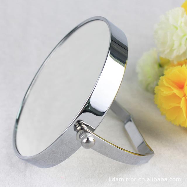 5 pulgadas de moda de alta definición 2-cara de escritorio espejo de maquillaje de metal espejo de aumento 3X lupa portátil chica de regalo de Navidad