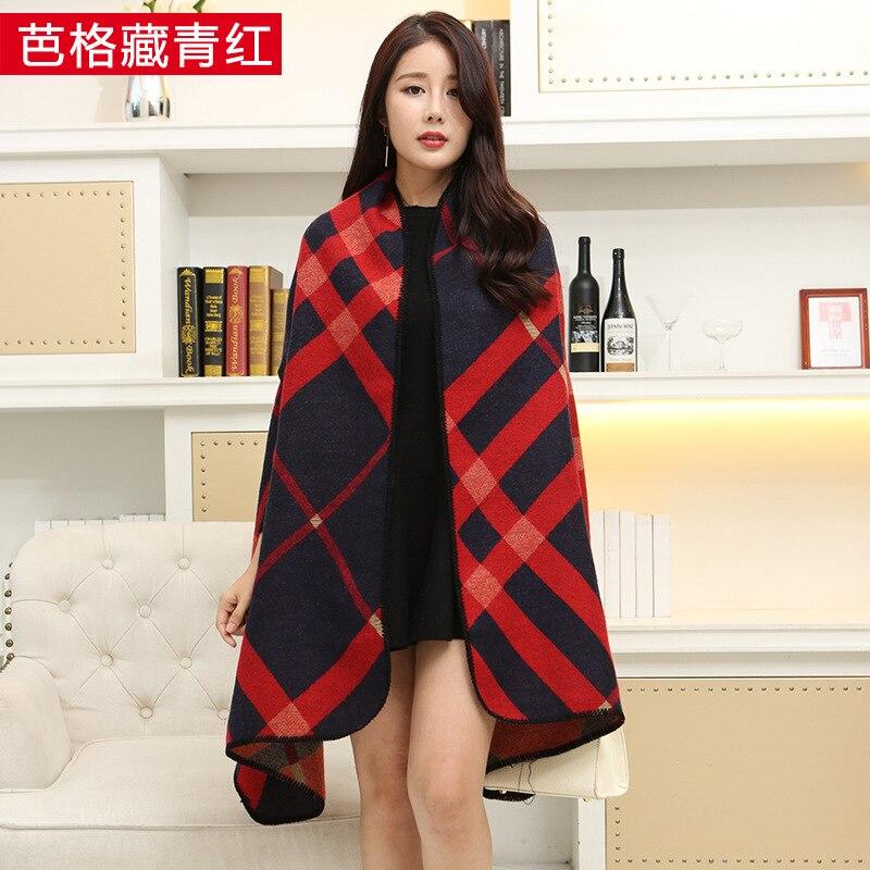 Новинка, роскошный брендовый женский зимний шарф, теплая шаль, женское Клетчатое одеяло, вязанное кашемировое пончо, накидки для женщин, echarpe - Цвет: Ba navy blue red