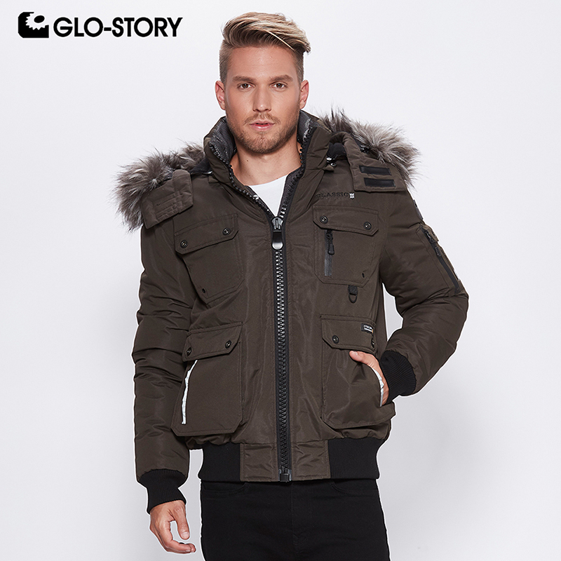 GLO-STORY 2018 Casual Parka With Fur Mens Winter Jacket With Hooded Zipper Pocket Winter Coat For Male MMA-6399