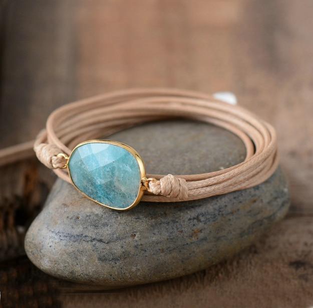 High End Wrap Bracelet Natural Stones Amazonite Boho Long Friendship Bracelet Statement Bracelets Women Gifts Dropshipping bracelet