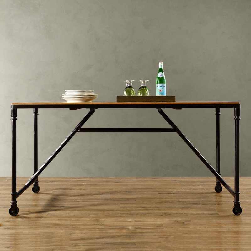Odd ranks yield industrial wind Dayton elm wood furniture wrought iron with roller Hanni Western Tables