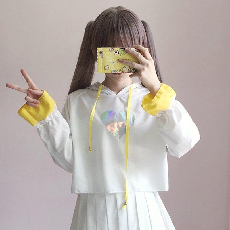 2018 Korean Ulzzang Casual Style Crop Tops Soft Sister Lovely Heart Laser Hooded Hoodies Japanese Kawaii Pattern Sweatshirt