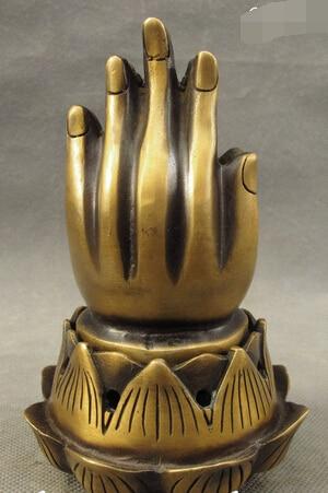 shitou 002734 Tibet Bronze Buddhist GuanYin Buddha Hand Amitabha Statue Incense Burner Censer