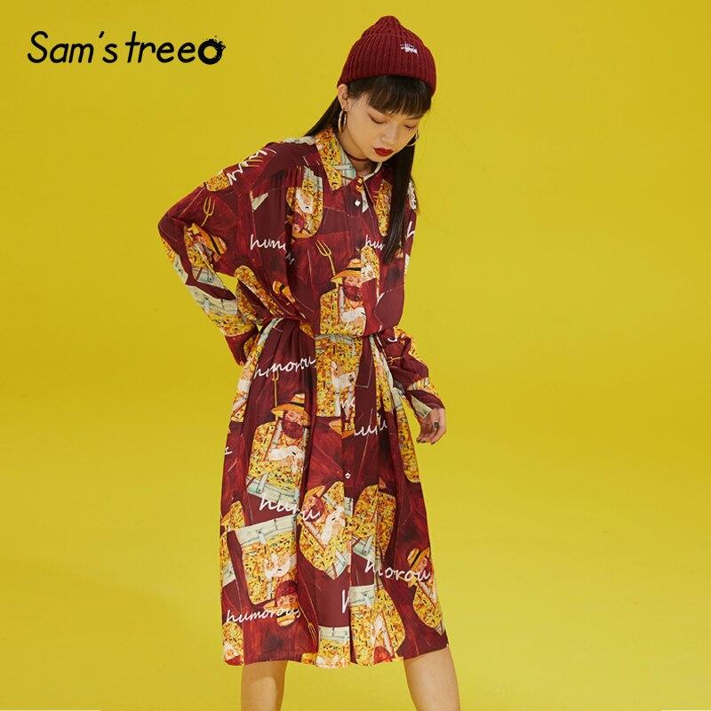 Women Vintage Prints Shirt Dress Long Sleeve Full Printing Pockets Young Ladies Fashion Dress