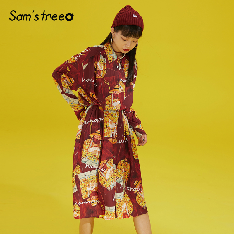 النساء خمر يطبع قميص فستان طويل كم كامل الطباعة جيوب السيدات الشابات فساتين راقية-في فساتين من ملابس نسائية على  مجموعة 1