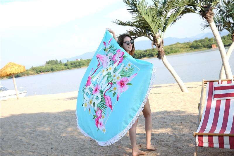 HTB1yeoCSpXXXXXMaXXXq6xXFXXXv - Round Style Microfiber Beach Towel - Flamingo With Tassels Design