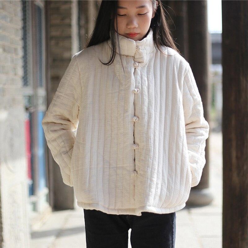 Johnature Women Stand   Parkas   Coat Cotton Button Long Sleeve 2018 Winter New Brief Pockets Vintage Warm Women Clothes Coats