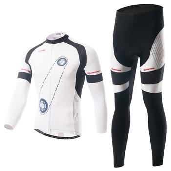 XINTOWN Pro Campeão Honra Branco Preto Ciclismo Jersey Definir Homens Primavera Outono Conjunto de Manga Longa Pano de Corrida de Bicicleta MTB Ropa ciclismo