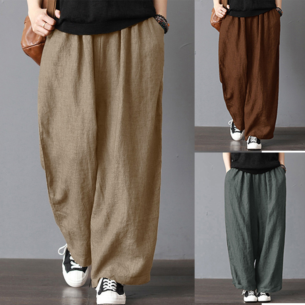 Women New Autumn   Wide     Leg     Pants   Flax Cotton And Linen   Pants   Casual mid Waist Bell-bottoms Trousers casual   pants   female trousers
