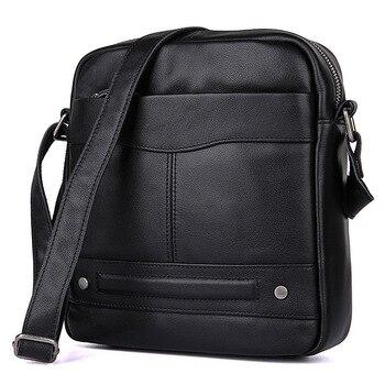Man Black Shoulder Crossbody Bags Cow Leather Business Dress Vintage Fashion Men Messenger Small  Bag Brand Designer Male Bag
