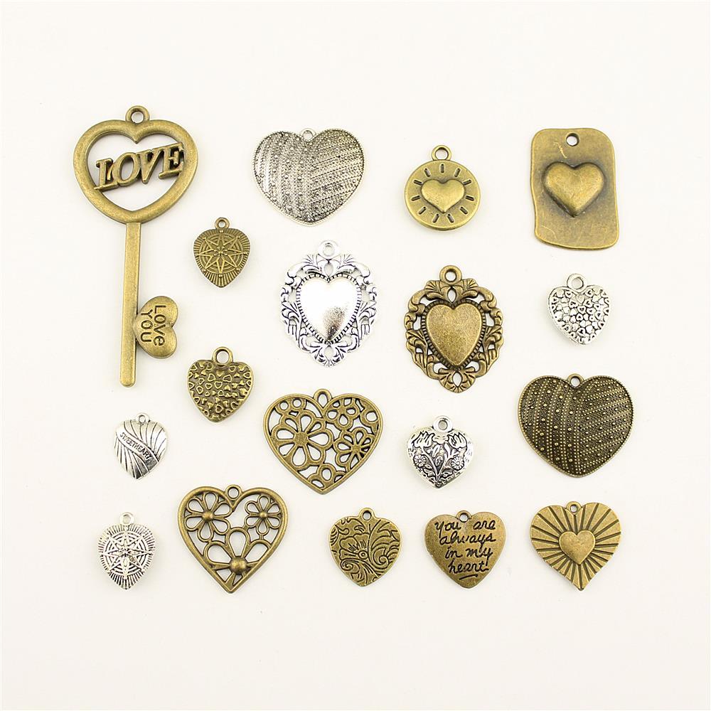 10 pçs encantos para fazer jóias coração flor tag acessórios peças criativo artesanal presentes de aniversário