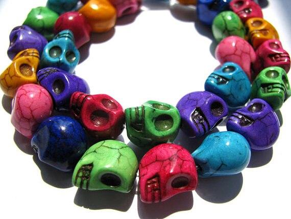En vrac turquoise pierre gemme squelette crâne assortiment bijoux perles 13x18mm 5 brins 16 pouces/par