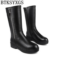 BTKSYXGS 2017 Women S Snow Boots 100 Genuine Leather Tide Fashion Winter Knee High Flat Martin