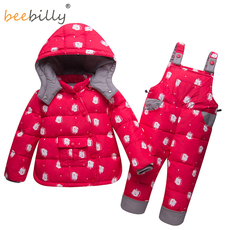 2018 Winter Duck Down Children's Sets Warm hooded Jacket Coats + Trousers Snowsuit For Kids Baby Boys Clothes Girls Clothing new winter girls warm clothing sets fur hooded jacket toddler dot white dark down coat trousers waterproof warm snowsuit clothes