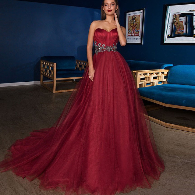 b994aba908 2018 Chic Wine Red Long Tulle Prom Gowns With Sparkle Crystal Beaded A-line  Formal