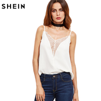 SheIn Sexy Tops For Women Fitness White Top Fall Camisoles For Women Spaghetti Strap Floral Lace