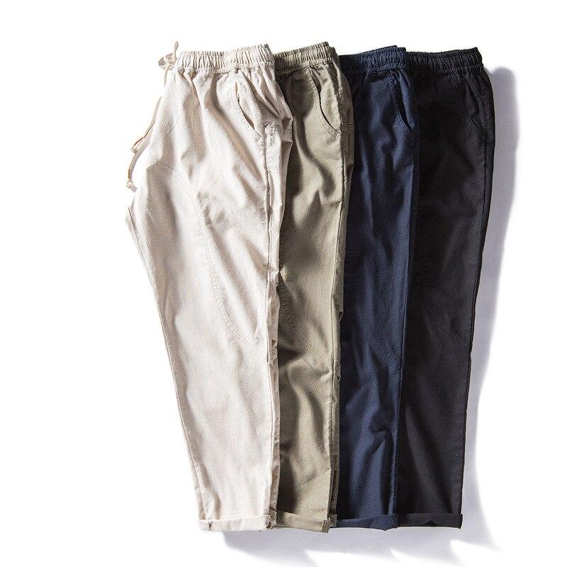2018 Vintage Mens Ankle-length Pants Joggers Cotton Linen Loose Straight Slack Casual Fitness Trousers Slim Fit Elastic Waist Ku Drip-Dry