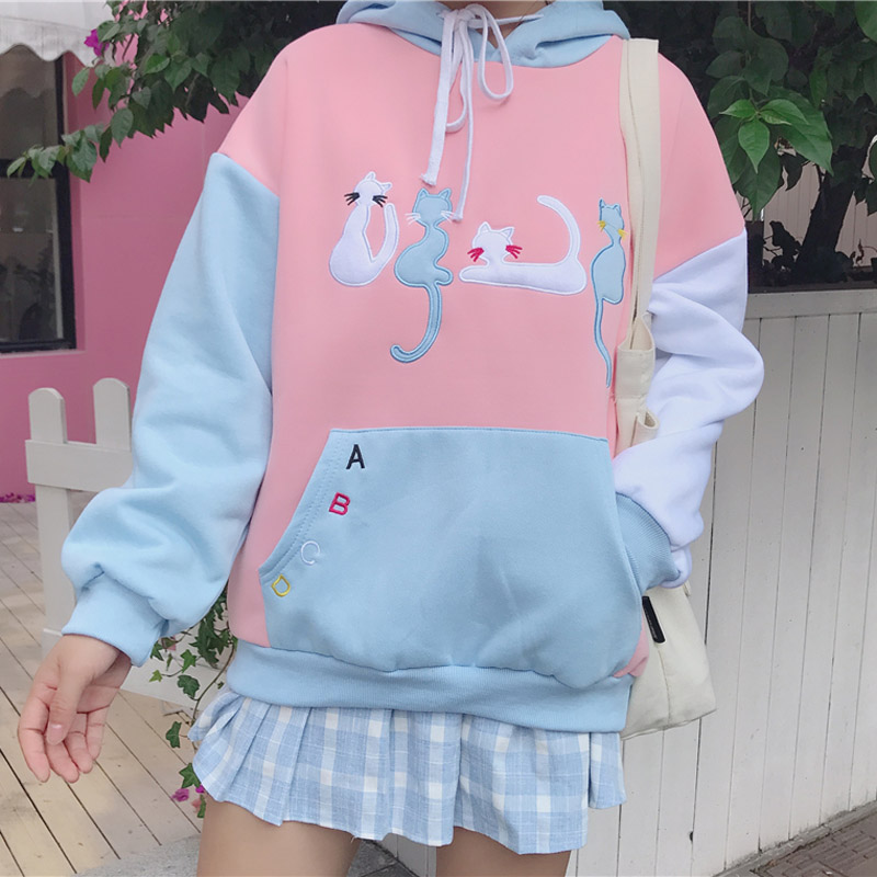 Women Autumn and winter Hooded Student Loose Cute Cartoon Cat embroidery Long Sleeve student velvet Sweatshirt