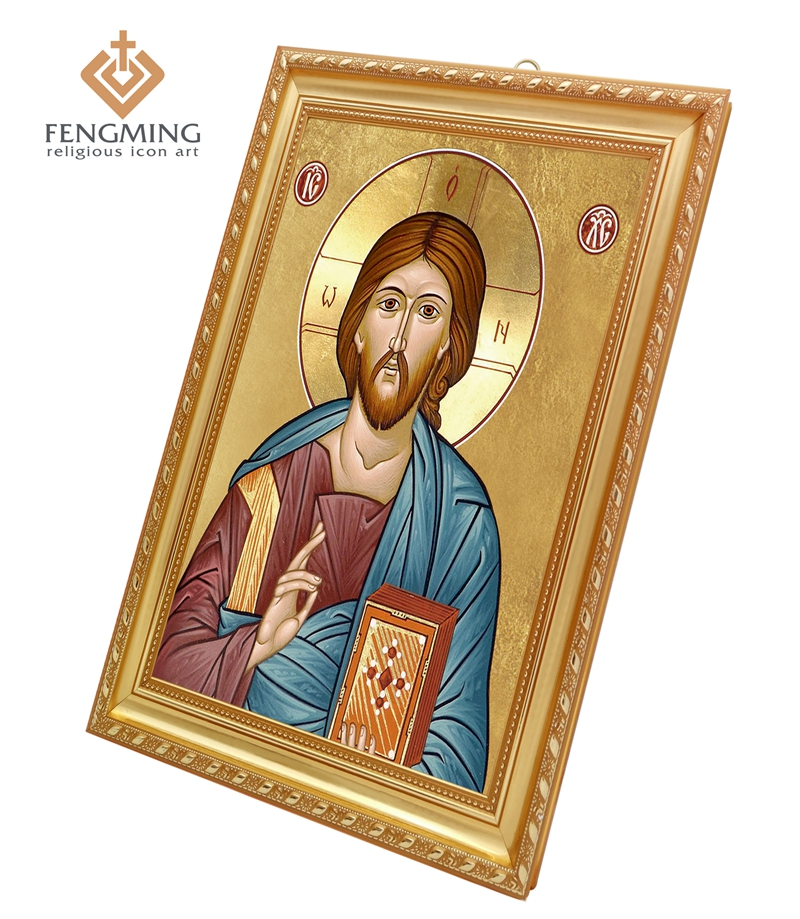 Orthodox Church Supplies Wall Decoration image Christ Pantocrator In Plastic Frame Byzantine Art Special icon and religious item