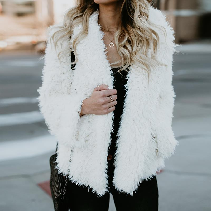 Chic HairyCoat Winter Warm Fashion 2018 Autumn Long Sleeves s