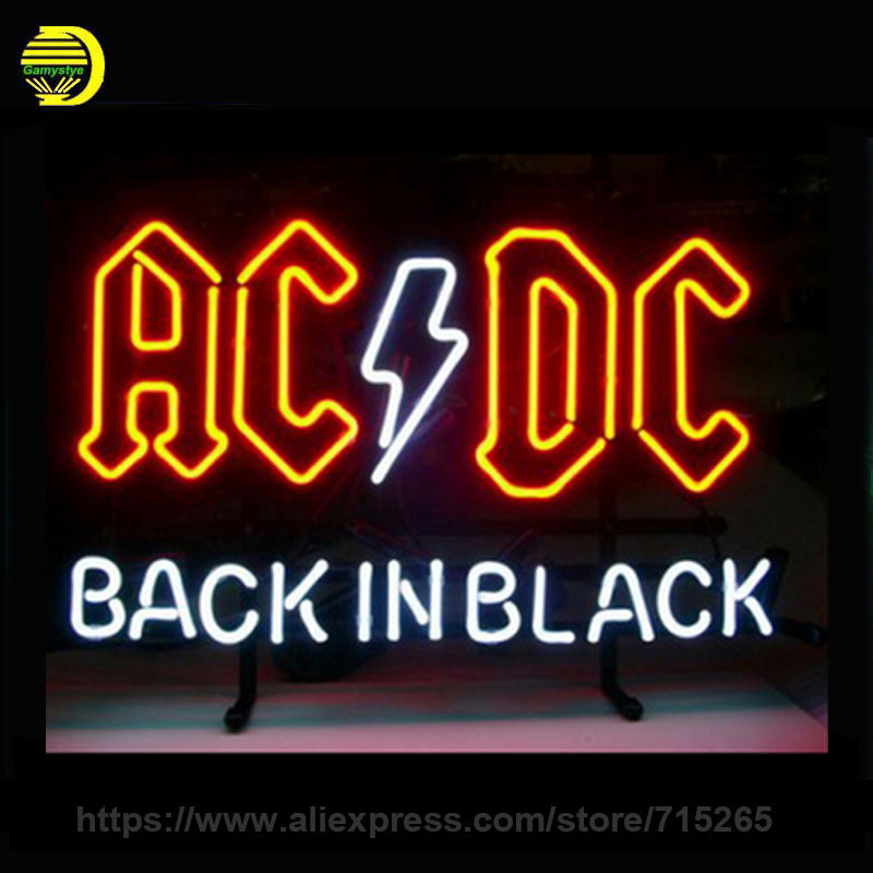 17*14 AC DC BACK IN BLACK outdoor NEON SIGN Signboard REAL GLASS BEER BAR PUB Billiards store display Restaurant Shop Signs neon signs for coffee personal neon bulbs sign handcraft decorate room night light beer pub display warranty sign custom size