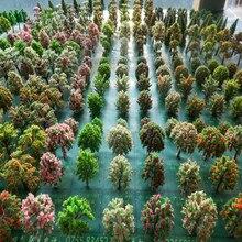 50 шт./лот архитектура мини пластиковая модель 2-15 см цвет дерево для Хо поезд макет железнодорожной компоновки модель здания