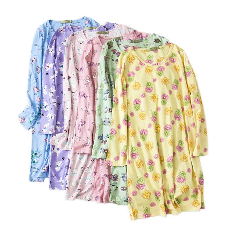 Hot Sale Sweet Cartoon Nightgowns Women Cosy 100% Cotton Casual Long-sleeved Sleepwear Women Nightdress Plus Size