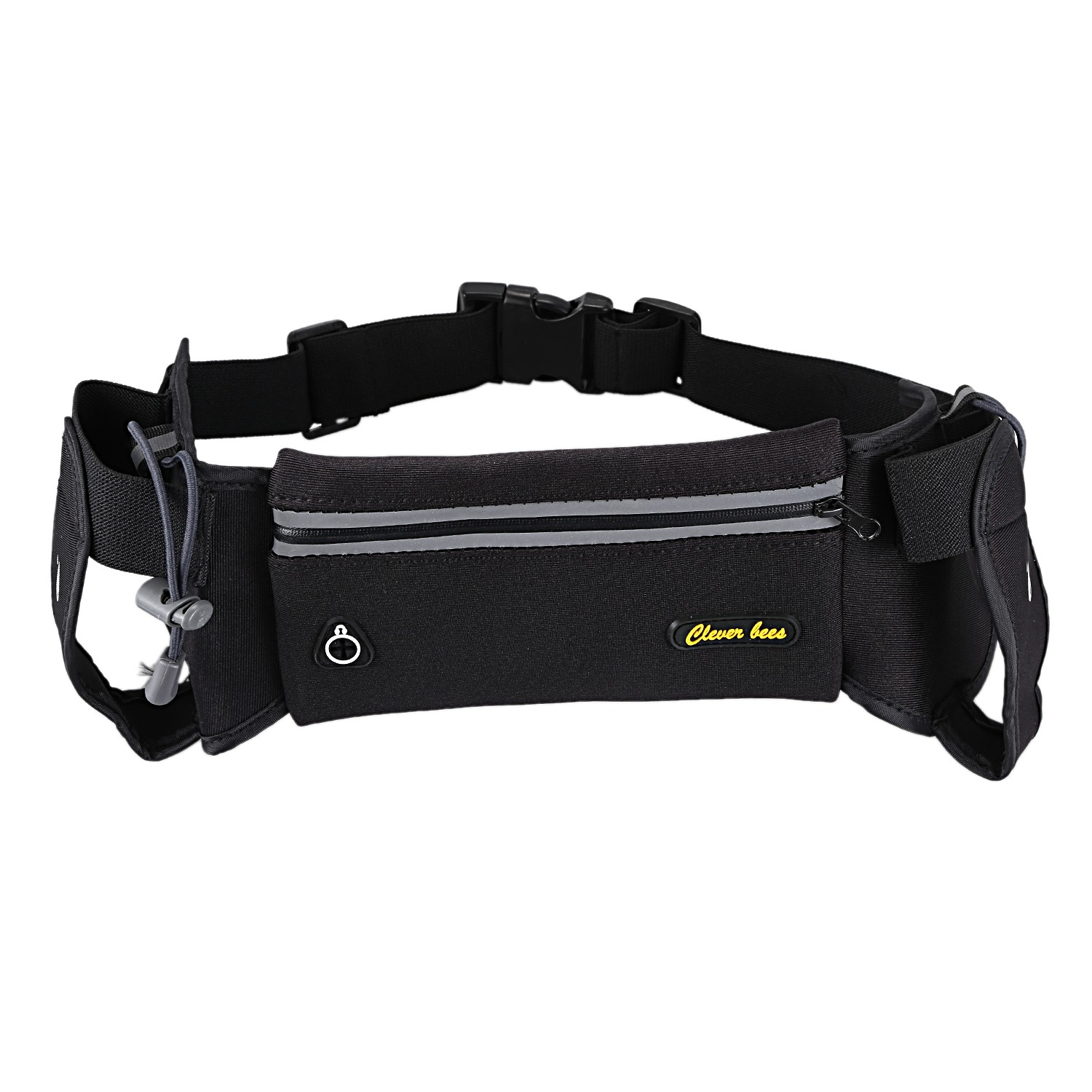 ELOS-clever bees Running Hydration Belt,Waterproof Sport Waist Pack with 2 Water Bottles Pocket,Adjustable Running Pouch with