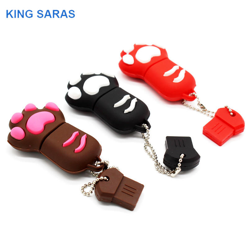 KING SARAS Cartoon 64GB Brown Pink Black Blue Colour Cat Claw Usb Flash Drive Usb 2.0 4GB 8GB 16GB 32GB Pendrive Gift Usb