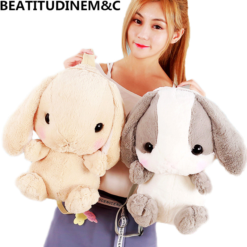 Cute Cartoon Rabbit Shoulder Bag Furry Rabbit Cartoon Plush Bags Girls Birthday Gifts