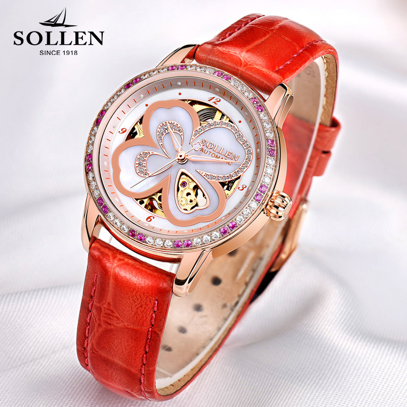 reloj mujer Skeleton Women Watch Luxury Brand SOLLEN Lucky Clover Girl Automatic Mechanical Ladies Dress Watches Rose Gold Gift lucky 2018 clover new fashion genuine leather womens watch ol lady diamond automatic mechanical watches women reloj femenino