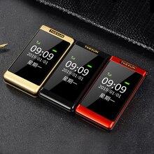 Tkexun Clamshell Mobile Phone Dual Display SOS Fast Call Rus