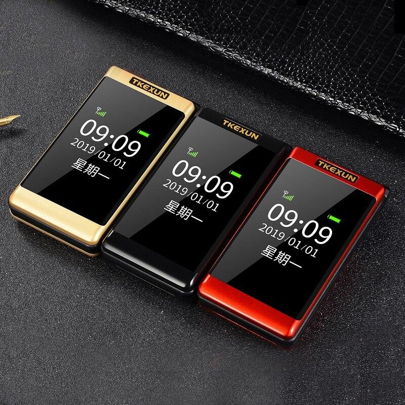 Tkexun Clamshell teléfono móvil de doble pantalla SOS llamada rápida ruso gran llave Bluetooth precio barato antorcha Flip Senior teléfono