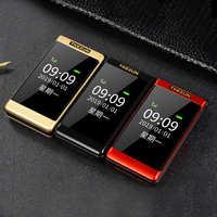 Tkexun téléphone portable à clapet double affichage SOS appel rapide russe grande clé Bluetooth pas cher prix torche rabat téléphone Senior