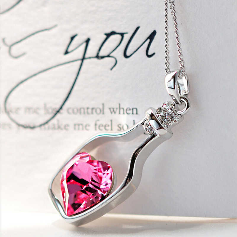 Crystal Heart Necklace Women Love Drift Bottles Pendant necklaces for women girl Chain Choker necklace Jewelry