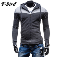 T Bird Brand Hoodies Men 2017 Fashion Casual Stitching Men Sweatshirt Zipper Slim Men S Hoodies