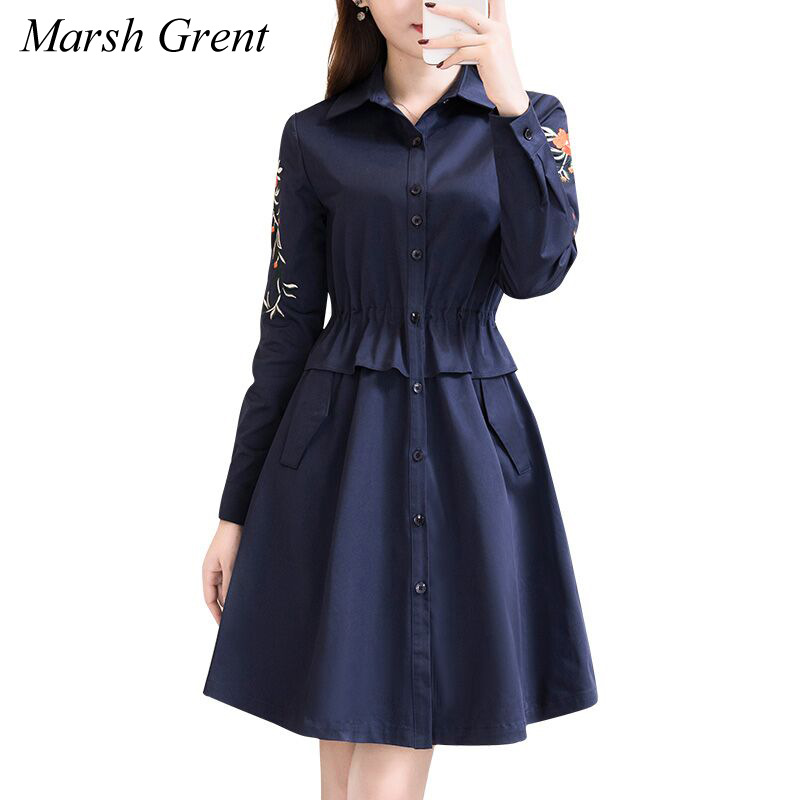 2018 autumn women fashion   Trench   Coat Medium Long Section Loose Large Size office Ladies Trenchs Black/blue
